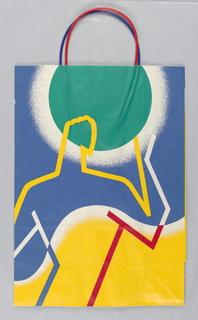 Summer bag; figure of man and orbs in yellow, bllue, green and red.
