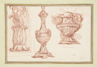 Two urns at center and right. At left, an ornamental detail with leaf-like motifs.