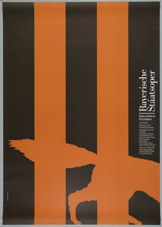 """Black poster with two large, orange stripes running vertically. In bottom half, same color as stripes, the back legs and tail of a wolf at right. Text at right in white reads: """"Bayerisch Staatsoper/ Das schlau/ Fuchslein"""" with additional date and time information below."""