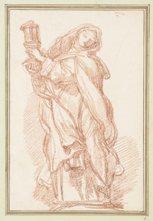 Drawing after statue by Giuseppe Mazzoni of St. Clare on the façade of S. Silvestro in Capite. She wears a nun's habit and holds lantern. She turns her head to her left and looks downward.