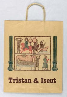 Matte finish brown paper with reproductions of two medieval prints from legendary tales.
