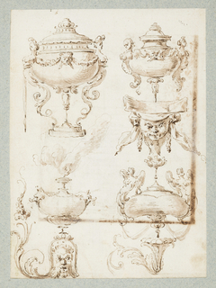 Recto: Vertical rectangle. Four incense burners of quasi-classical design, ornamented with half figures; a bracket composed of a mascaron; an ornamental motif consisting of a mascaron and rinceaux and another rinceau motif.   Verso: Horizontal rectangle: a scene of classicals ruins in a landscape and two standing figures possibly inspired by a woodcut in the Hypnerotomachia Poliphili, published in Venice in 1499.   One sheet of paper drawn on recto and verso, mounted onto an album page with window cutout to see verso.