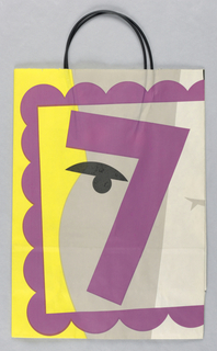 "Recto: Matisse-style abstract head, left side in grey, right side in white; purple shape, like the number ""7"", suggests nose and left eyebrow.  Purple ripple-shaped frame around head.  Yellow and white background.  Verso: Purple ""8"" superimposed on black vase with three gray flowers on top."