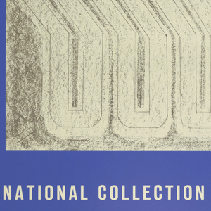 Poster shows orange and gray rectangular block-like designs. Text in white, lower margin: NATIONAL COLLECTION OF FINE ARTS; text in black, below white text: Smithsonian Institution, Washington, D.C. Opening May, 1968