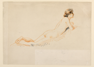 Nude female figure lying on grass, front down, resting on elbows.