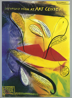 Abstract painting in red, yellow and blue, with speech bubbles containing information about the Art Center.