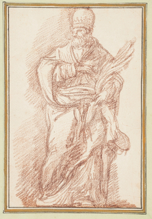Drawing after statue by Michelangelo Borgognone of St. Stephen on the façade of S. Silvestro in Capite in Rome. He wears the papal vestments and tiara, and holds the palm of matyrdom in his left hand. He pulls his robes across his body with his left hand.