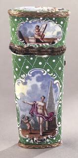 Etui (a), with hinged lid, the whole of flattened oval form in section, tapering toward base; green ground diapered in raised white dots; raised white rococo scrolls framing five panels with mythological scenes in color:  Diana seated with standing dog; Venus standing with Cupid running with a bow, obelisk behind.  Fitted with ivory memo tablet (b), gilt copper pencil holder (c), gilt copper paper knife (d), gilt copper pen knife with steel blade (e), steel and gilt copper scissors (f), steel tweezers (g), and a gilt copper bodkin (h).