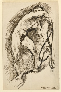 A standing male nude, seen frontally, body twisted in contrapposto. He shields his eyes with his right upper arm and holds a rope in both hands. The ground he stands on is uneven.