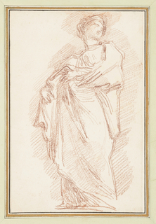 Drawing after statue by Giovanni Maria de Rossi of St. Balbina on the North Colonnade of St. Peter's. She pulls her robes to the right, across her body. She looks to her left. There is a narrow scarf around her neck.
