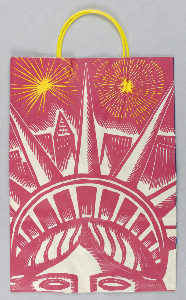 Statue of Liberty illustration in red and blue on white background. Recto: Closeup of statue's face in red, with gold sunbursts above. Verso: Closeup of statue's torch in blue, also with gold sunbursts. Right side panel: Celebration/ Patron of the July 4th Fireworks/ Bloomingdale's.