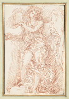 Angel with large wings and flowing garments. The angel's left arm crosses the chest, and the right leg is exposed.