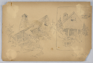 Two sketches of same house from different perspective. Left, upward view of cottage with chimney. Right, boxed off, front view of cottage.
