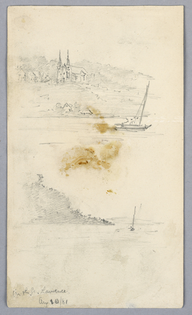 Drawing, Two Sketches of Sailboats at St. Lawrence