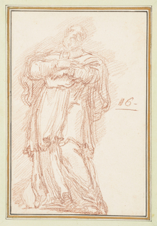 Drawing after statue by Paolo Reggiani of St. Francis de Sales on the North Colonnade of St. Peter's. He is bearded and wears a short mantle with a brooch at the neck. His hands are at his chest, one above the other.