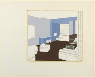 Living room and library streamlined interior with with L-shaped modular sofa at lower right; built in sofa and library books in nook, rear center; simple curving fireplace and tufted armchair center left; and piano (partial) at lower left. Curving walls divided in planes emphasized by two tones of blue.