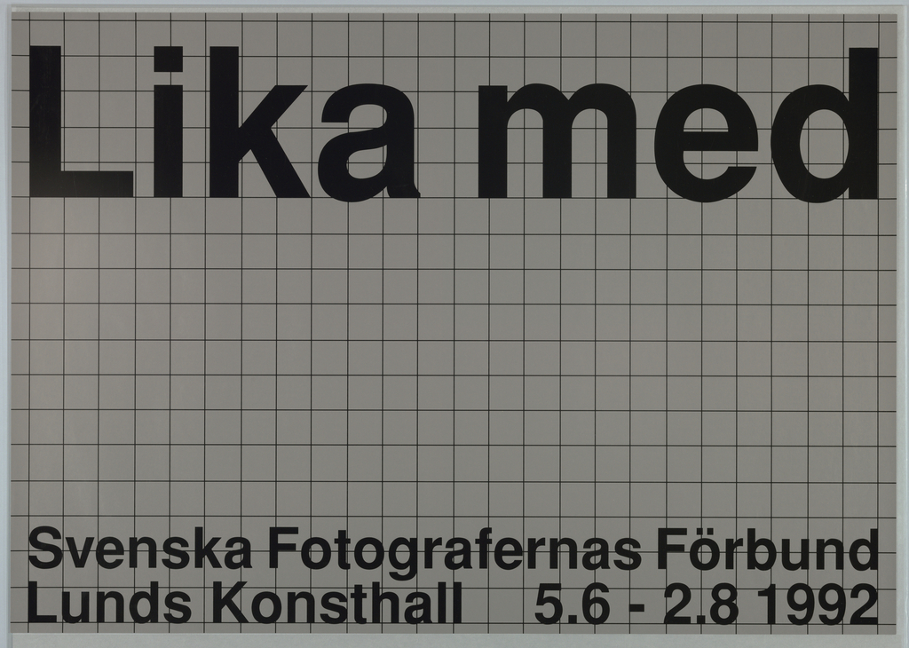 This is a poster for the Swedish Photographers Society exhibition at the Lund Art Gallery, Lund, 1992.  Svenska Fotografernas Frobund