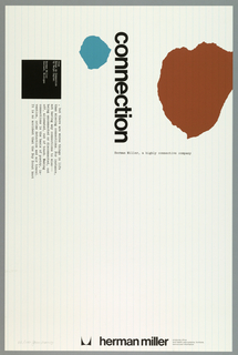 On white ground with thin vertical blue lines resembling lined paper, an abstract blue form at upper center, an abstract orange-brown form at upper right. Printed in black, vertically, at upper center: connection; additional printed text in typewriter-style font at left and within a black square at upper left. Herman Miller company name and logo at lower right.