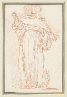 Drawing after statue by Lazzaro Morelli of St. Bernard (S. Bernardo), located on the Noth Colonnade of St. Peter's. He wears a monk's habit, holds his arms out with open palms and looks upward. A mitre is at his feet.