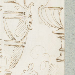 Vertical rectangle.  Recto: Sketches of eight quasi-classical urns and one tripod. One urn is shown complete, the others, half only.   Verso: Two urns, one in the form of a pitcher, with water issuing from a duck's bill. Below, a sculptured basin, with alternate suggestion.   One sheet of paper drawn on recto and verso, mounted onto an album page with window cutout to see verso.