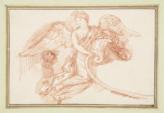 Drawing, Winged female figure with decorative scroll