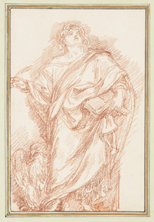 Drawing after statue by Camillo Rusconi of St. John the Baptist from St. John Lateran's Basilica (S. Giovanni in Laterano). St. John's head is tilted upward. He holds an open book against his body in his left hand and holds a quill in his right. A large eagle is at his right.
