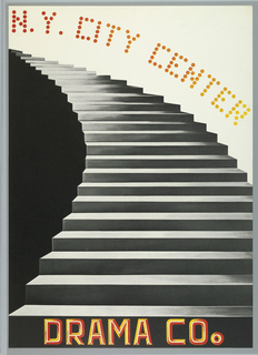 Vertical rectangle. Photoillustration of a curving silver staircase, with solid black to the left and solid white to the right. Printed text in orange and yellow curving above and printed at bottom. Part of a series of posters commissioned to celebrate the 25th anniversary of the New York City Center. This version of the poster shows the final design with text.