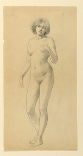 Standing nude female figure, turned slightly toward left; head turned slightly to right, looking downward.
