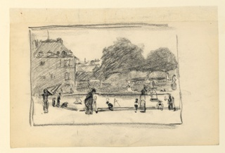 View looking across a small basin, in which children are playing with sailboats, toward the Luxembourg Palace set among trees.