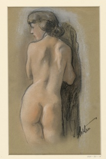 Three-quarter figure of a female nude seen from the back, her head turned to the left, and her hands at her breast.