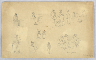 Various figures, male figure sitting, leaning, looking over low brick wall. Lower left, man with hat, cane and bag standing. Center, two women walking.