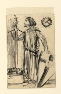 "A knight in chainmail armor stands in left profile, his sword in his right hand resting, blade down, on the base of a column. His left hand rests on his shield, which has a cross on the front. Upper right, a wreath encircles the letter ""K."""