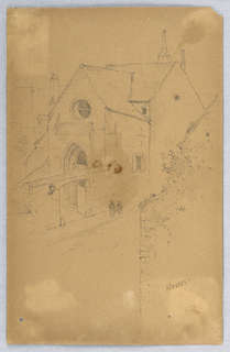 View into a street and churchyard, figures walking along street.
