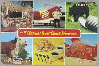 "Poster to annouce the 31st Annual West Coast Show in 1996 which is competition for West Coast designers. Recto: Organized into six sections (3 on top and 3 on bottom) with each section designated for one area of West Coast including Oregon, California,British Columbia, Alaska, Washington, and Hawaii.  In center imprinted in yellow with red outline"" ""The 31st Annual West Coast Show 1996"" inside rectangular text box with rounded corners.  ""HAWAII"" (in white outlined in red) superimposed on color photo reproduction of tropical bar at top left.  Image of gentleman in suit, sitting at bar and stirring his cocktail.  Behind, bottles of alcohol and pile of pineapples.  ""OREGON"" (in white outlined in red) superimposed on color photo reproduction of large man standing in front of ""WIENER MOBILE"" (car shaped like hot dog) at top center.  ""CALIFORNIA"" (in white outlined in red) superimposed on color photo reproduction of bear eating from knocked down trash can at top right.  ""BRITISH COLUMBIA"" (in white on red background) superimposed on color photo reproduction of large sculpture of cow at bottom right.  ""ALASKA"" (in white outlined in red) superimposed on color photo reproduction of plate of donuts, coffee in cups, and four coffee spoons on yellow surface at bottom center.  ""WASHINGTON"" (in white outlined in red) superimposed on color photo reproduction of large red fish sculpture with woman in swinsuit and little boy seated below fin at bottom right. Verso: Divided into top half and bottom half with ""THE 31 ST ANNUAL WEST COAST SHOW 1996 CALL FOR ENTRIES HONORING THE BEST GRAPHIC DESIGN & PRINT ADVERTISING FROM ALASKA, BRITISH COLUMBIA, WASHINGTON, OREGON, CALIFORNIA, & HAWAII DEADLINE: MONDAY, JULKY 29, 1996, 4:30 PM SPONSORED BY WESTERN ART DIRECTORS CLUB"" (in black) across middle of poster.   Top half: Imprinted in left corner: ""P.O.Box 996/ PALO ALTO CA 94302"" (in black).  Imprinted at left ""DEADLINE: JULY 29/ ADDRESS CORRECTION REQUESTED"" (in black outline).  Small outlined reproduction of recto image with each of six parts numbered 1 to 6.  Below, list in black: ""1. Packaging/ 2. Point of Purchase/ 3. Direct mail/ 4. Environmental graphics/ 5. Photography/ 6. Advertising/ and more"".  Outlined physical map of West Coast with each state and province labeled with geographic information such as  ""Capital"", ""Miles to The West Coast Show"", ""Motto"", ""Famous"" (person from region), ""Tourist Attraction"", and ""Geographic Center"".   Bottom half: organized into 13 columns of text explaining design competition and entry form.  Topics of text include ""Eligibility"", ""Awards"", ""Bitstream Typographic/ Excellence Award"", ""Exhibition"", ""Judges"" including ""(ANN FIELD, KJ MUNA, MIKE MOSER, MICHAEL OSBORNE, JAMES VICTOIRE""), ""Alternate Juror"",  ""(BILL CAHAN)"", ""Categories"" which include ""PRINT ADVERTISING"" such as (""Consumer Magazine Advertising, Trade Magazine Advertising, Consumer/Trade Newspaper Advertising""), ""COMPANY LITERATURE"", ""BOOKS & JACKETS"", ""IDENTITY"", ""ILLUSTRATION"", ""PHOTOGRAPHY"", ""PACKAGING"", ""POSTER/EXHIBIT/POINT OF PURCHASE"", ""SELF-PROMOTION"", ""NEW MEDIA"", ""MISCELLANEOUS"".  Furthermore, it states ""Entry Fees"", ""Preparation of Entries"", ""Send Entries To"", ""Entry Label"", ""Master Form""."