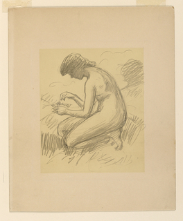 Vertically rectangular plate-mark enclosing an area of yellow matte coating. Crouching nude female figure, head bent over undefined object in left hand.