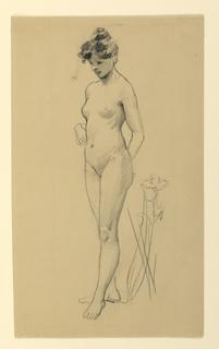 Standing female nude figure, turned slightly toward left.