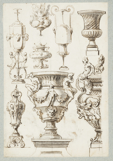 "Vertical rectangle.  Recto: Eight urns of quasi-classical or Baroque design, of which two are included in Suite III, plate 7; two in in Suite V, plate 1, and one in Suite XII, plate 1.   Verso: Vertical rectangle. Two flying putti holding a blank shield surmounted by a crown. Below, a rendering of the left foreground group of figures in Raphael's ""Disputa"" fresco in the Sala della Segnatura of the Vatican.   One sheet of paper drawn on recto and verso, mounted onto an album page with window cutout to see verso."