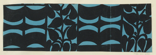The Monte Zuma textile design consists of rhythmic geometric shapes in the form of alternating curving bands and plant vines in black. This color variation is in black and turquoise.