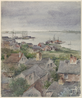 Groups of small houses in the foreground, seen from a high vantage point. Sailing ships in the background.