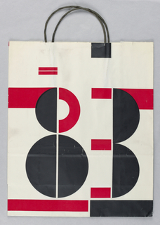"""""""19"""" on recto and """"83"""" on verso in black and red on white background."""