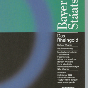 """Top half of poster is gradient from left to right, blue to green. Bottom half of poster is black. In center, a blue ring. Text at right in white down side reads: """"Bayerische Staatsoper/ Das/ Rheingold"""" with additional date and time information below."""