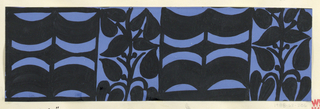 The Monte Zuma textile design consists of rhythmic geometric shapes in the form of alternating curving bands and plant vines in black. This color variation is in blue and black.