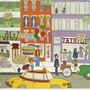 Vertical rectangle. On yellow ground, a city street scene with views of high-rise buildings and skyscrapers (one of which is under construction) illustrated in comic style. Figures populate the windows of buildings and the sidewalk of the street, where there are a variety of local vendors and shops. A city bus, taxi, and two additional cars drive on the street near the bottom of the composition. Written text throughout contained within speech bubbles, comments on ways in which the life depicted in the poster is improving. Title rendered in cloud letters formed by an airplane at upper left. Design bordered in white, with a thick white rectangle at bottom with black printed text.