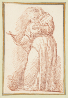 Drawing after the statue by Vincenzo Felice of St. Francis on the façade of S. Silvestro in Capite in Rome. Figure in monk's robes holds a cross in his right hand and looks downward at it.