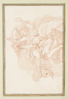 Two winged figures, each holding a crown. The figures are perpendicular to each other. Their heads are close together.