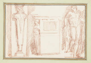 Three unrelated motifs. At right, Apollo from a niche in the left background of School of Athens, painted by Raphael and his workshop. At center, a base with a supporting caryatid. At left, a herm with an animal head.