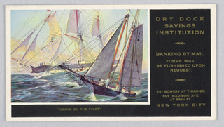 1962-135-45-c: At left, reproduction of a mural with two ships cresting waves at sea; title below. At right, information about bank. 1962-135-45-d: Calendar for December 1937 featuring a reproduction of mural with a ship at sea. Sails unfurled, land in distance at left.