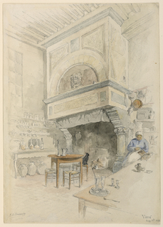 Interior of a large kitchen, with a monumental stone fireplace facing the spectator. A woman sits beside a long table, right, and a cat is seated on a low seat, next to table facing the fireplace.