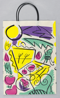 Summer bag showing abstract design in yellow, purple, fuchsia and green.