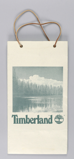 "Central image, in green tones, of lake surrounded by tall pines with clouds overhead, with ""Timberland"" name imprinted below. Side panels: Promotional information for the store's products.  Facsimile signature of artist.  Base: Store name with logo."